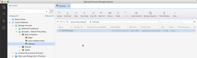 storage explorer backup