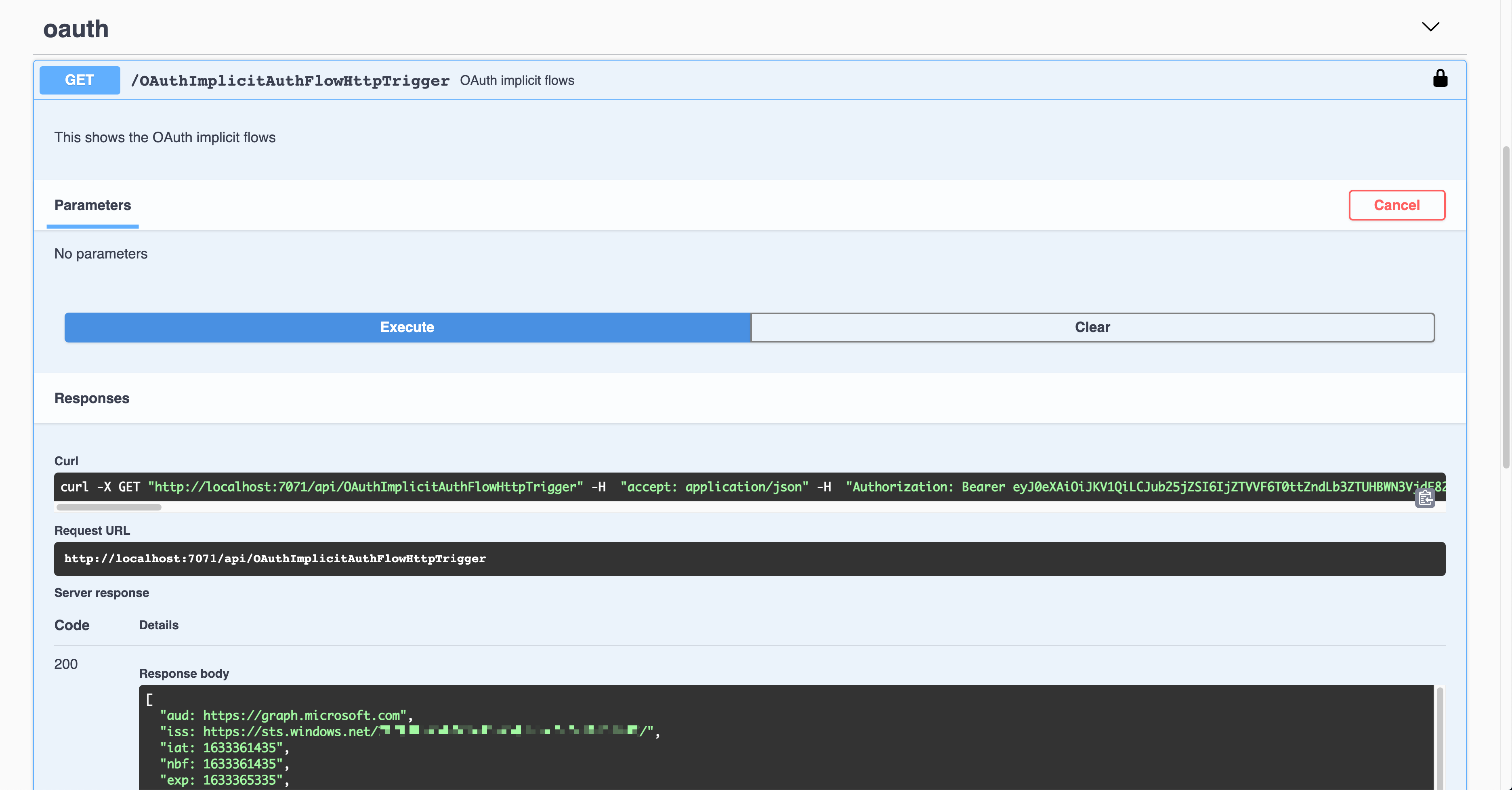 Swagger UI - OAuth2 Implicit Auth - Result