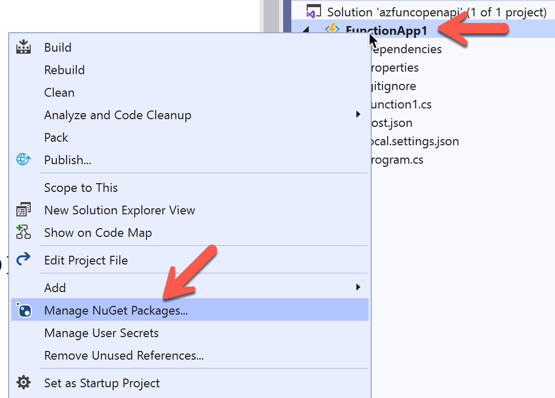 Select NuGet Package Manager menu