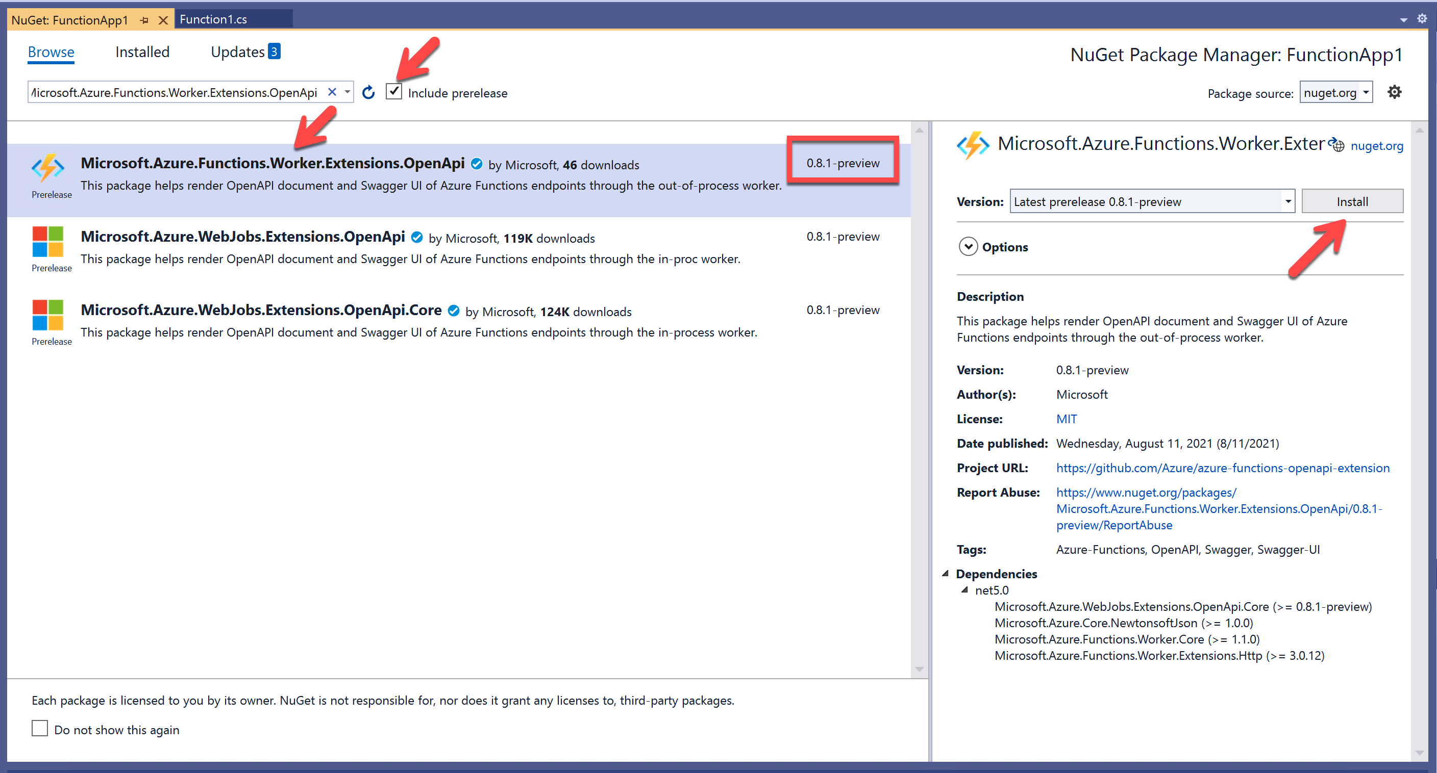 Search up the OpenAPI extension in the NuGet Package Manager screen