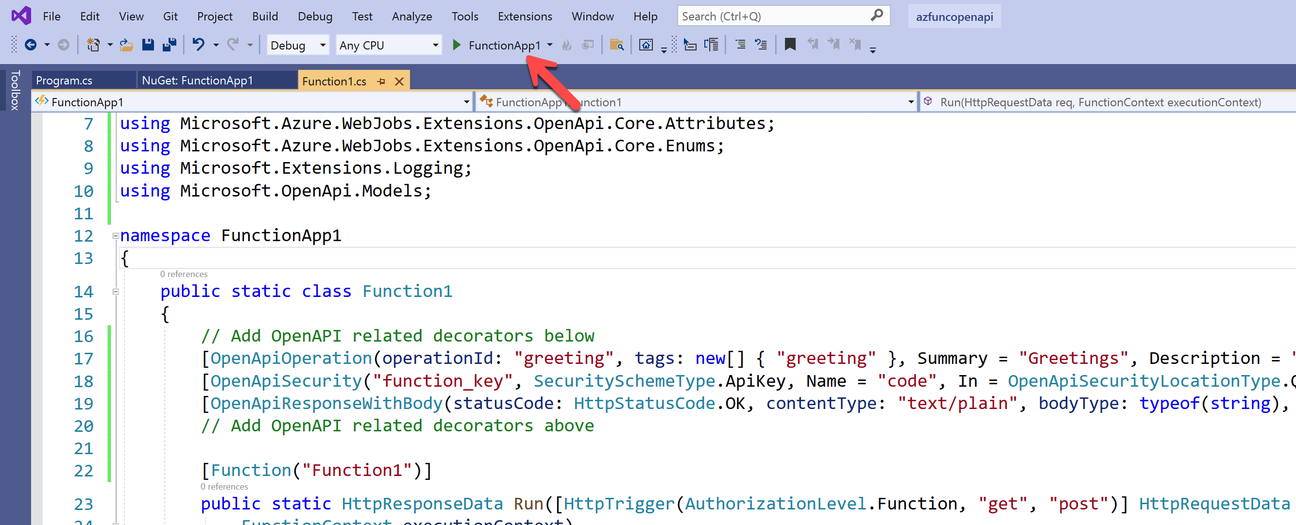 Run Azure Function app with the debug mode