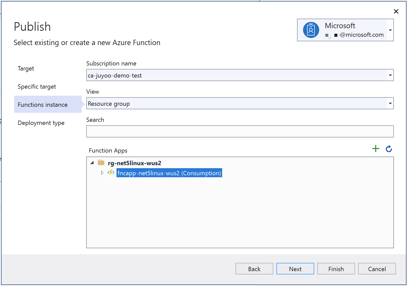 Choose existing instance