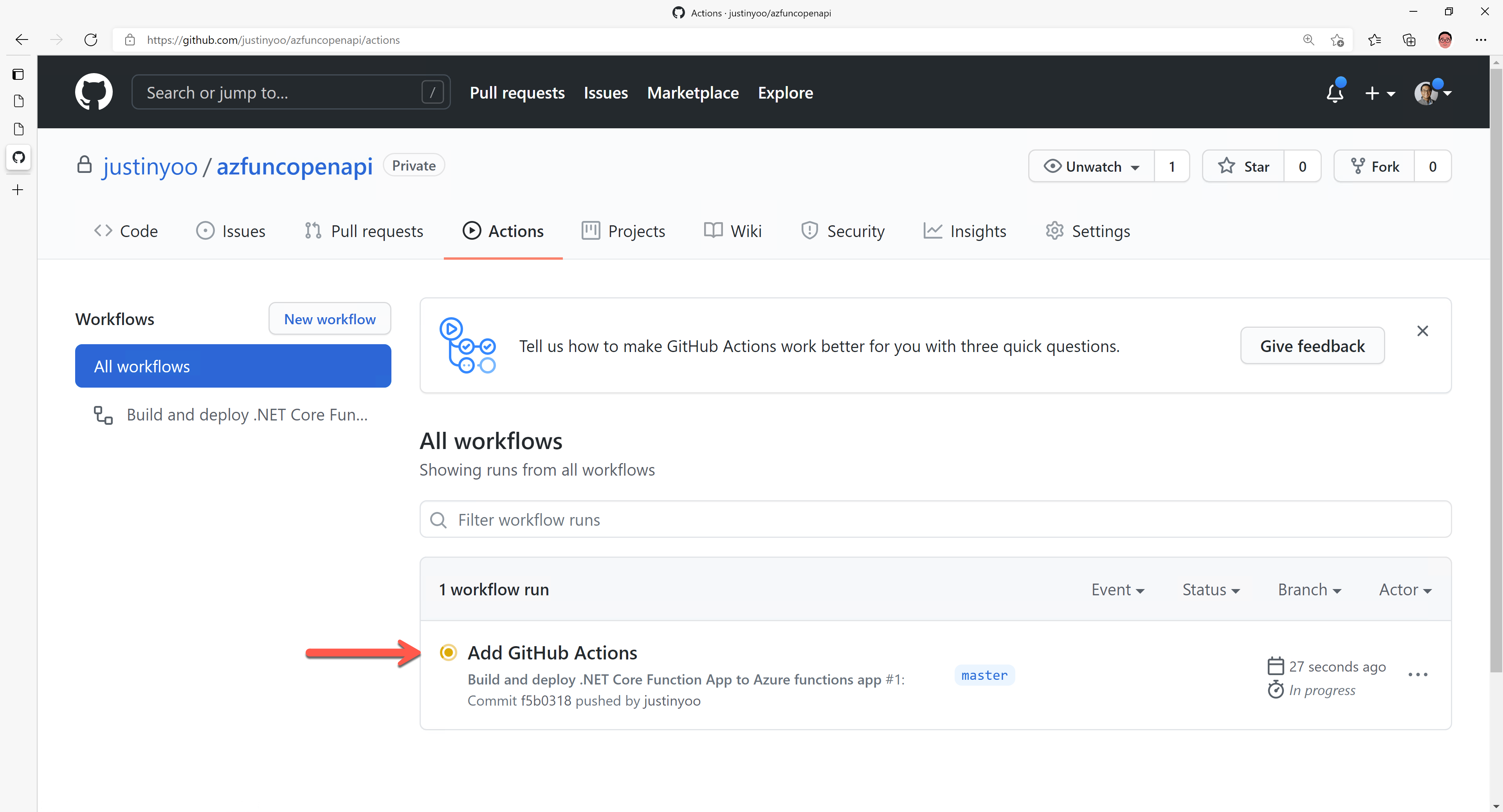 Deploying Function app with GitHub Actions