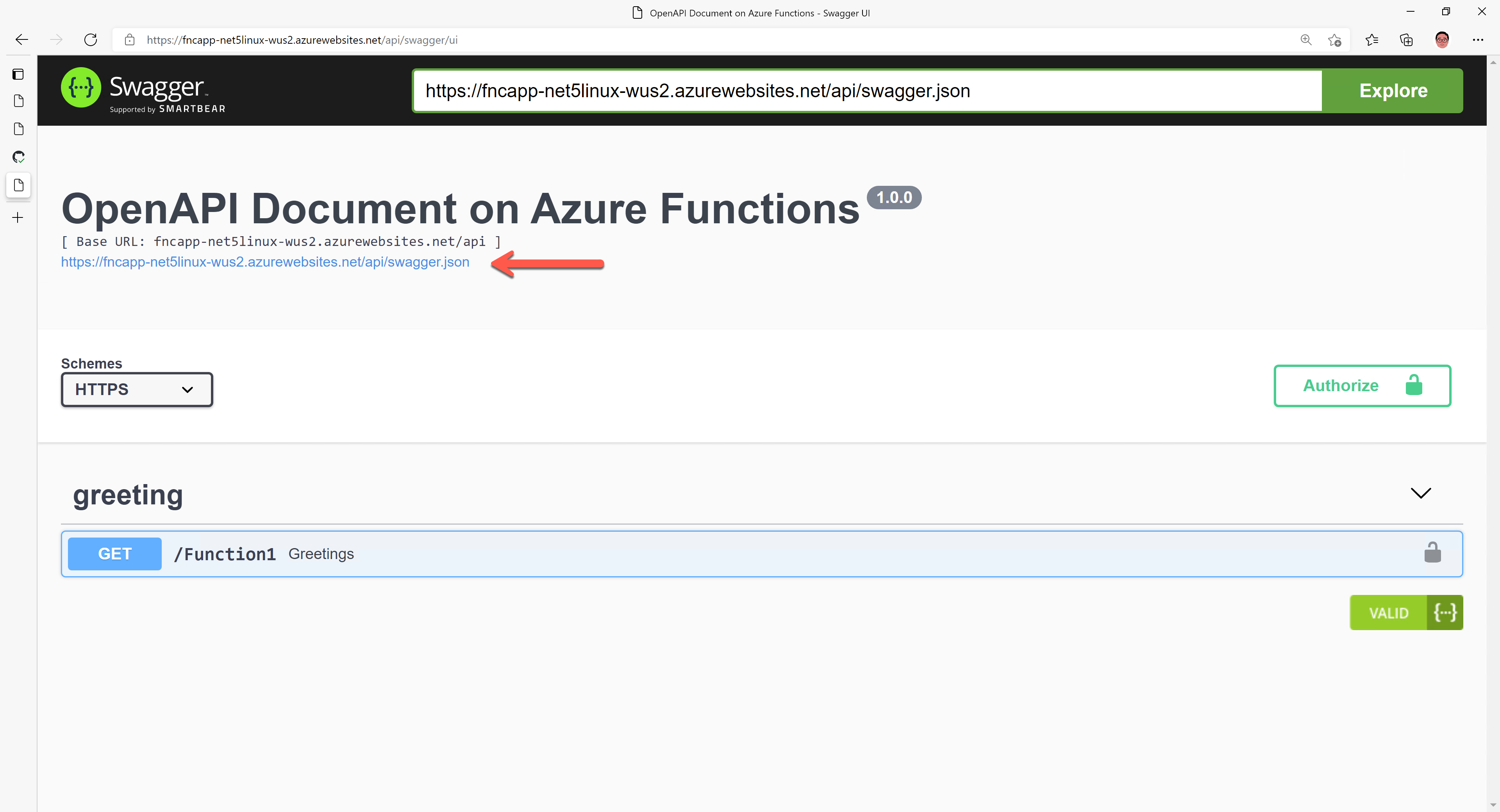 Swagger UI on Azure